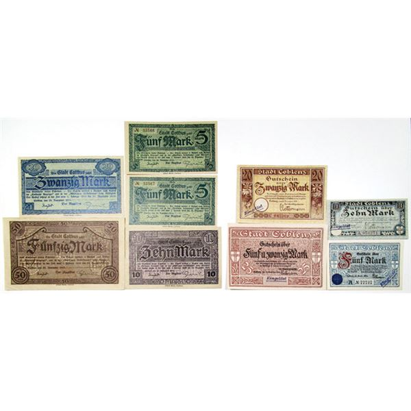Coblenz (Koblenz) & Cottbus. 1918. Lot of 9 Issued Emergency Notgeld Banknotes.