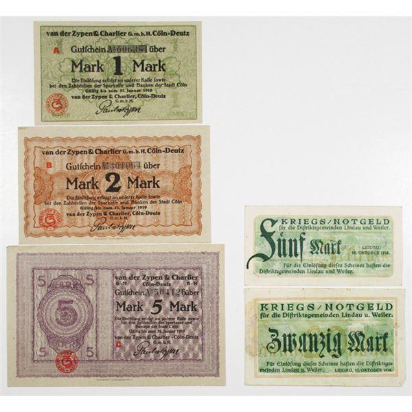 C_ln-Deutz & Lindau und Weiler. 1918-1919. Lot of 5 Issued Notgeld Scrip Notes.