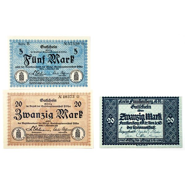 Fl_ha, Frankenberg, & Frankfurt am Mainz. 1918. Lot of 8 Issued Emergency Notgeld Banknotes..