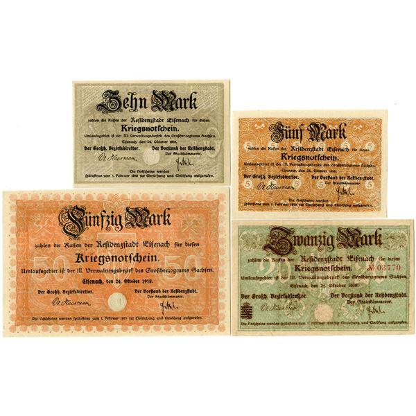 Germany. Residenzstadt Eisenach. 1918. Quartet of Notgeld.