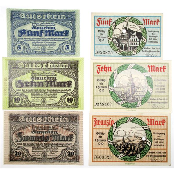 Gie¤en & Glauchau Amtshauptmannschaft. 1918. Lot of 6 Issued Notgeld Notes.