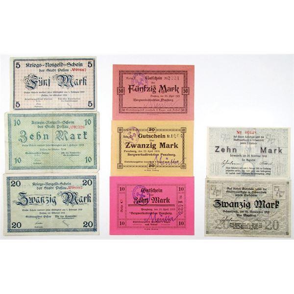 Passau, Penzberg, & Schweidnitz. 1918-1919. Lot of 8 Issued Emergency Notgeld Banknotes.