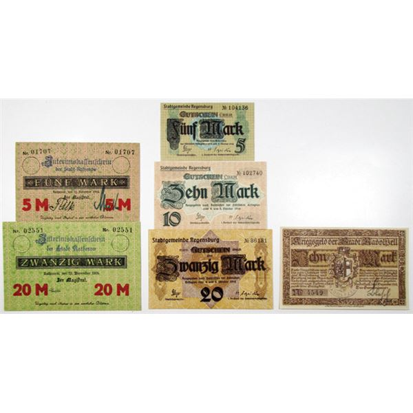 Radolfzell, Rathenow, and Regensburg. 1918. Lot of 6 Issued Emergency Notgeld Banknotes.
