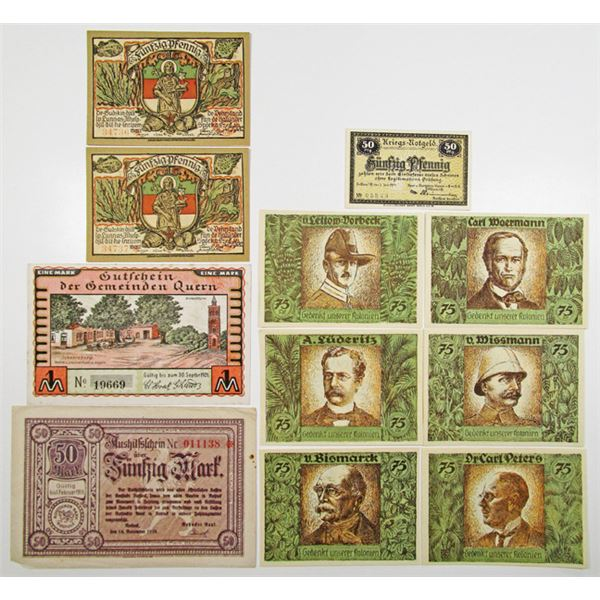 Various German Notgeld Issuers. 1918-1921. Lot of 11 Issued Notes.