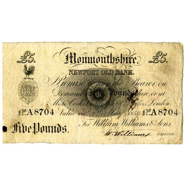 Monmouthshire, Newport Old Bank, 1850 Issue Obsolete Provincial Note