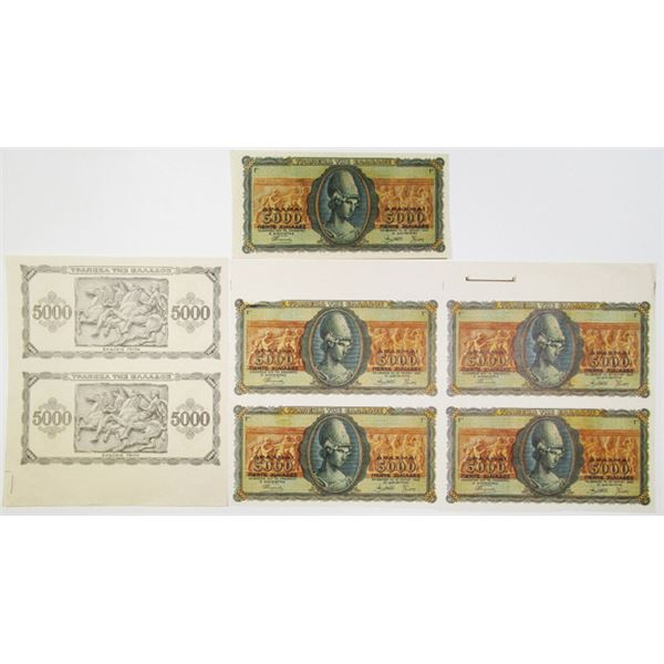 Bank of Greece, 1943 Progress Proof Banknote Assortment