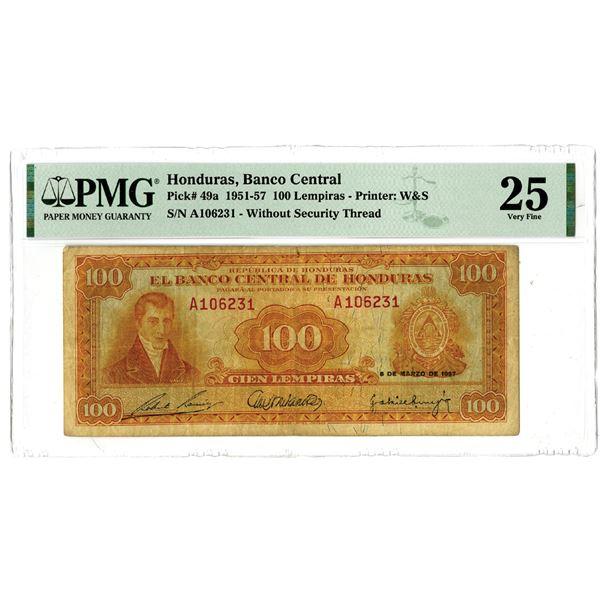"""Banco Central de Honduras, 1951-57 """"Top Pop"""" Issued Banknote"""
