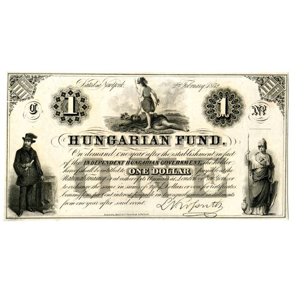 Hungarian Fund, New York, 1852 Issued Banknote