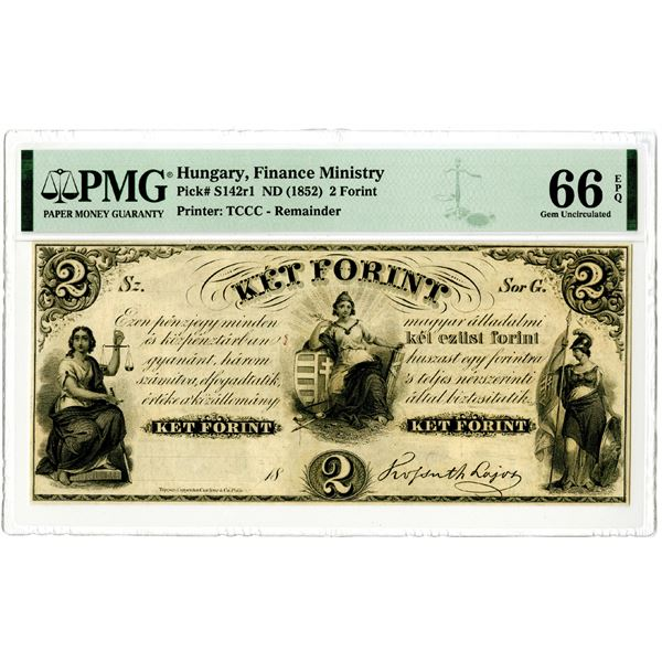 """Hungary. Finance Ministry ND (1852) """"Top Pop"""" Remainder Banknote"""