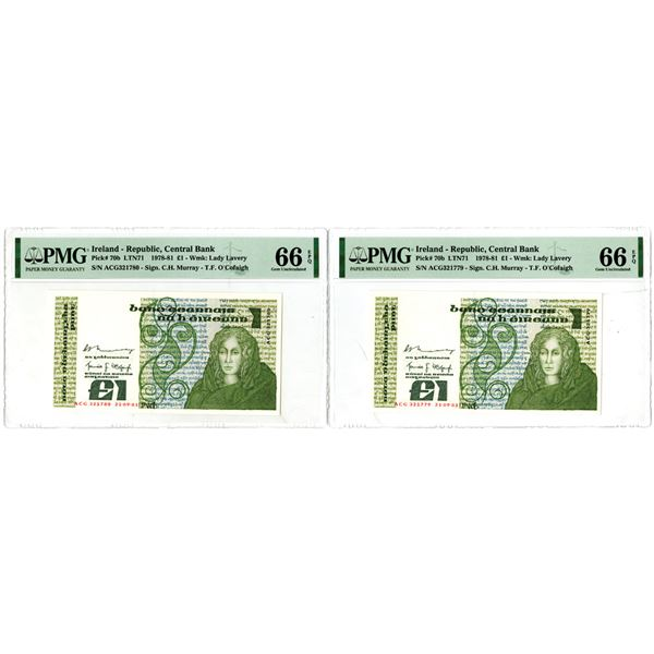 Central Bank of Ireland, 1981 High Grade Sequential Banknote Pair.