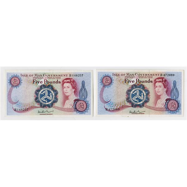 Isle of Man Government, 1972 ND Issue Banknote Duo.