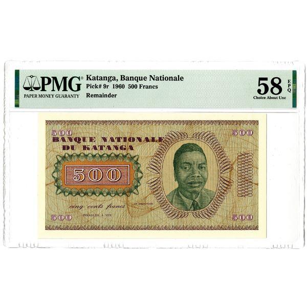 "Banque Nationale du Katanga, 1960 ""Top Pop"" Remainder Banknote"