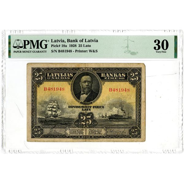 Bank of Latvia, 1928 Issue Banknote.