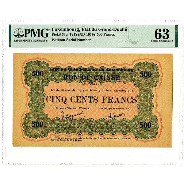 Etat du Grand-Duche, 1918 (ND 1919) Issued Banknote