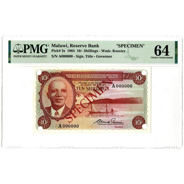Reserve Bank of Malawi, 1964 Specimen Banknote