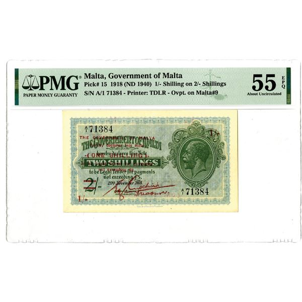 Government of Malta, 1918 (ND 1940) Issued Banknote