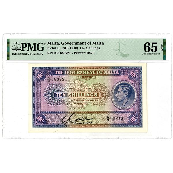 Government of Malta, ND (1940) Issued Banknote