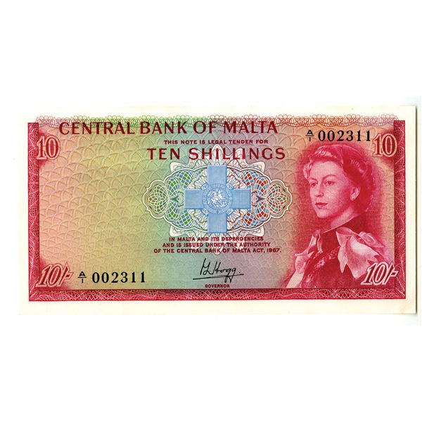 Central Bank of Malta. ND (1968) Issue Banknote.