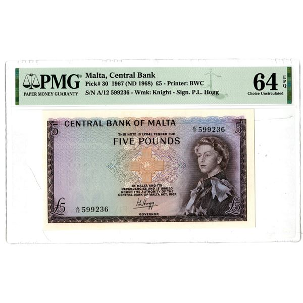 Central Bank of Malta, 1967 (ND 1968) Issued Banknote