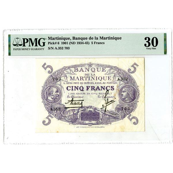 Banque de la Martinique, 1901 (1934-45) Issued Banknote