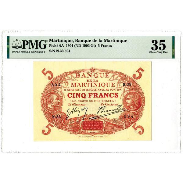 """Banque de la Martinique, 1901 (ND 1903-34) """"Top Pop"""" Issued Banknote"""