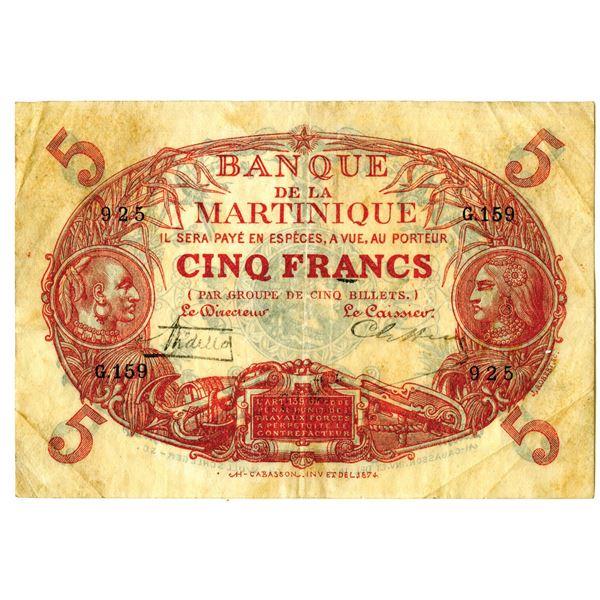 Banque de la Martinique, ND (1919-21) Issued Banknote