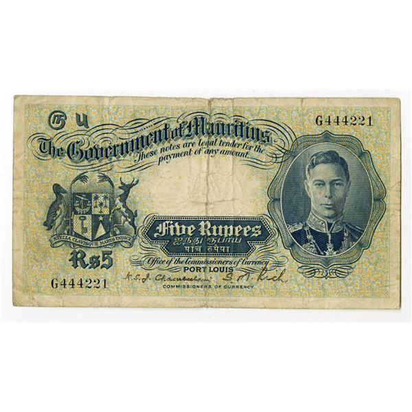 Government of Mauritius, ND (1937) Issued Banknote