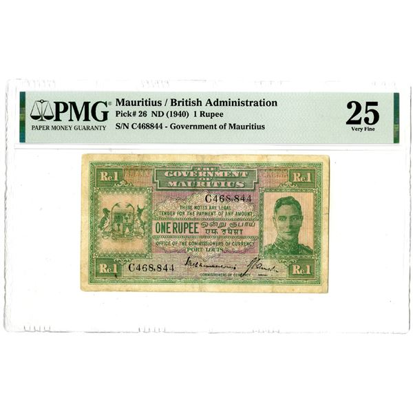 Government of Mauritius, ND (1940) Issued Banknote