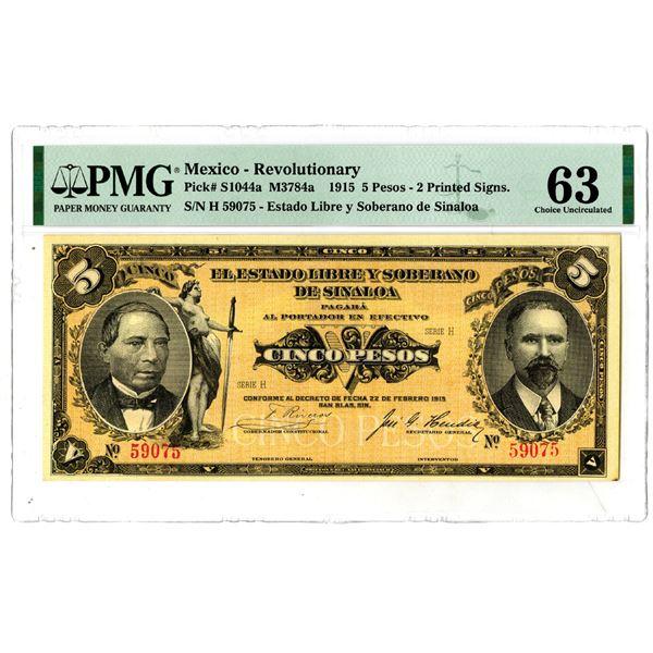 Estado Libre y Soberano de Sinaloa, 1915 Issued Banknote