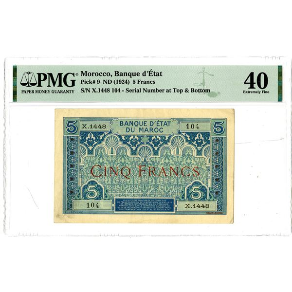 Banque d'Etat, ND (1924) Issued Banknote
