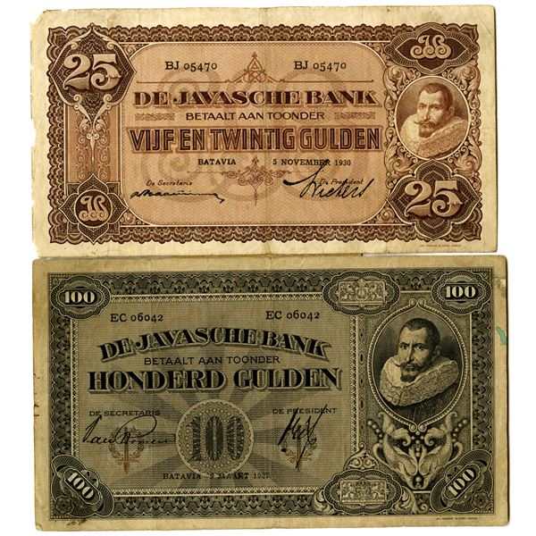 De Javasche Bank Issued Banknote pair, 1927-1930