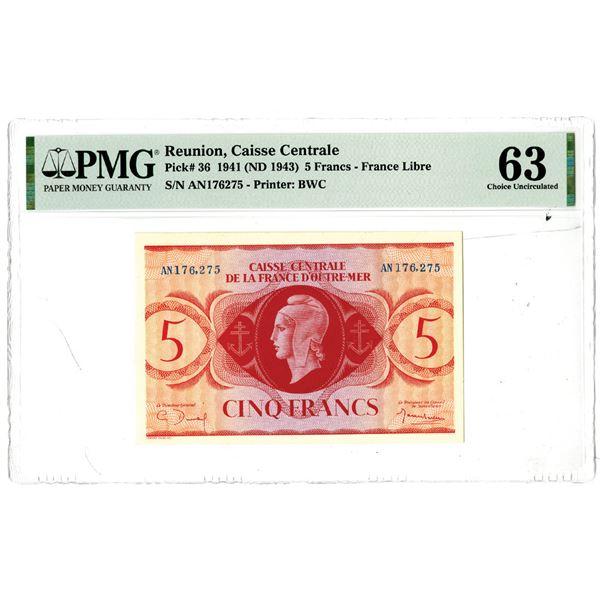 Caisse Centrale de la France d'Outre-Mer, 1941 (ND 1943) Issued Banknote
