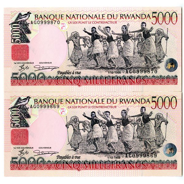 Banque Nationale du Rwanda, 1998 Issued Sequential Banknote Pair