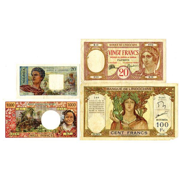 Banque de L'Indochine and Institut d'Emission d'Oure-Mer Quartet of Issued Notes