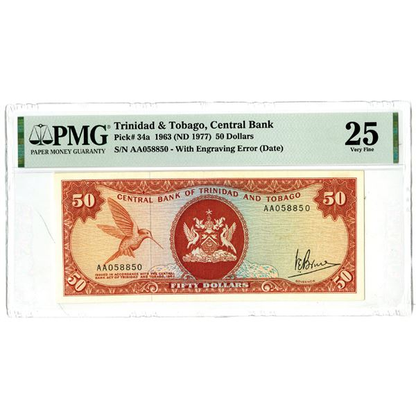 Central Bank of Trinidad and Tobago, 1963 (ND 1977) Issued Error Date and also RADAR Banknote