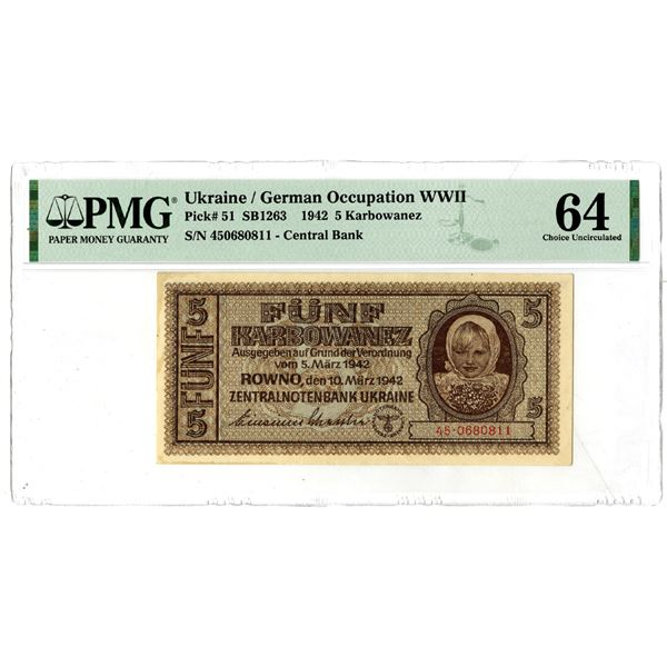 Ukraine/German Occupation WWII, Central Bank, 1942 Issued Banknote