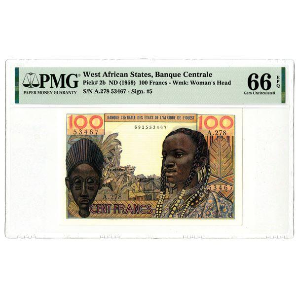 Banque Centrale des Etats de l'Afrique de l'Ouest, ND (1959) Issued Banknote