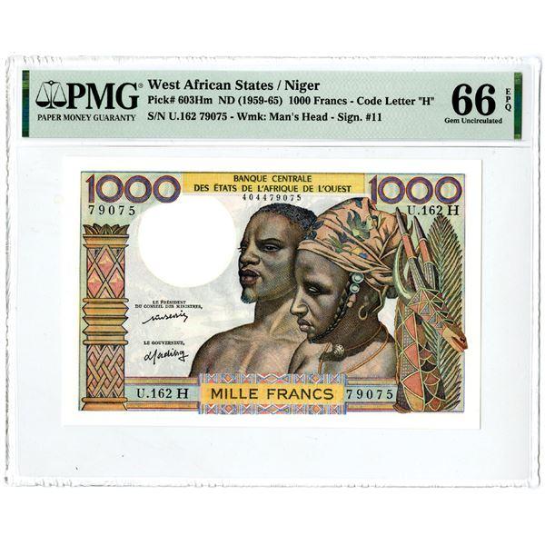 """Banque Centrale des Etats de l'Afrique de l'Ouest, ND (1959-65) """"Top Pop"""" Issued Banknote"""