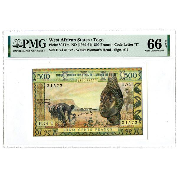 Banque Central des Etats de l'Afrique de l'Ouest, ND (1959-61) Issued Banknote