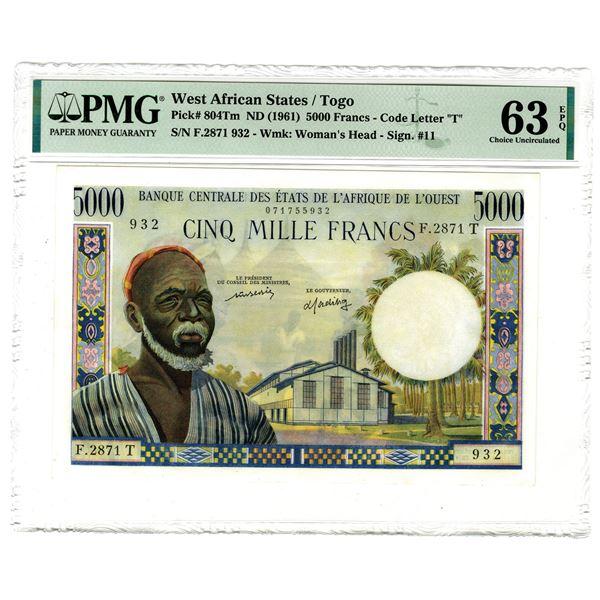Banque Centrale des Etats de l'Afrique de l'Ouest, ND (1961) Issued Banknote
