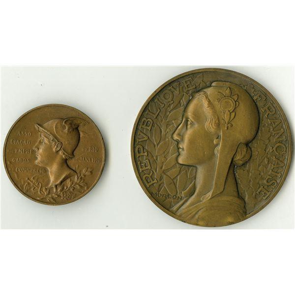 Ministere des Affaires Etrangeres, ca. 1930s & Rio de Janeiro 1900 Commemorative Bronze Medal Pair