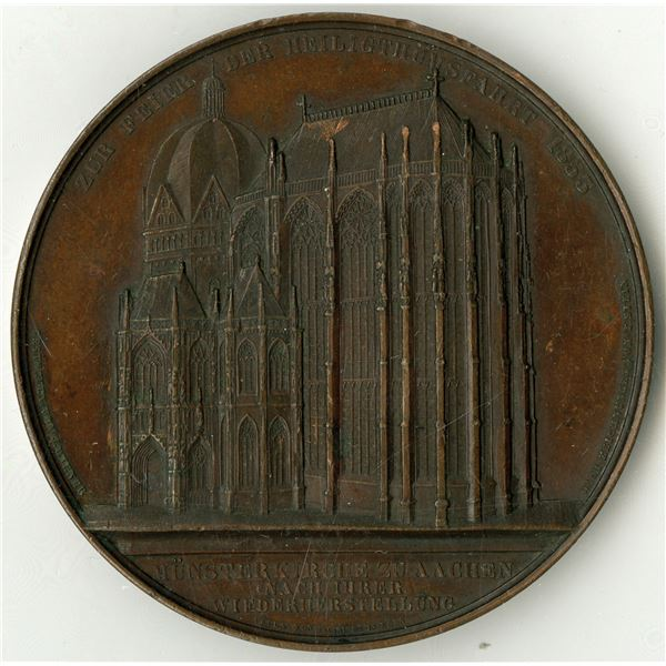 Cathedral at Aachen, 1855 Medal by Jacques Wiener