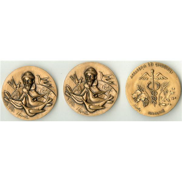 Italian Bronze Art Medals 1990's Trio.
