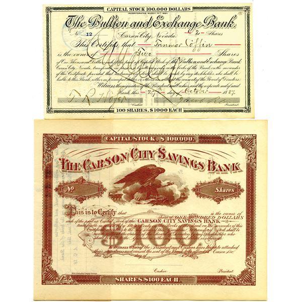 Carson City Stock Certificate Pair, ca.1880-1890's.