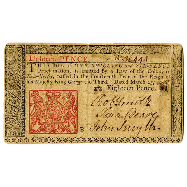 New Jersey, 1776 1 Shilling and 6 Pence Colonial Note