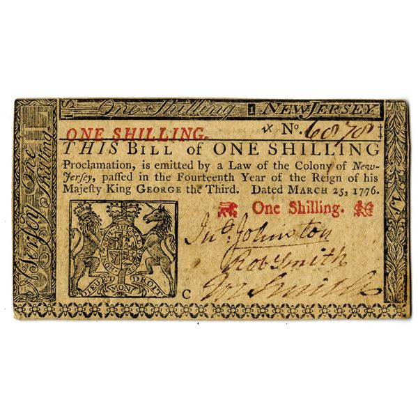 New Jersey, 1776 1 Shilling Colonial Note