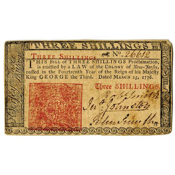 New Jersey, 1776 3 Shillings Colonial Note