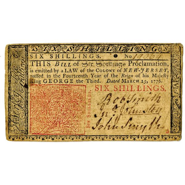 New Jersey, 1776 6 Shillings Colonial Note