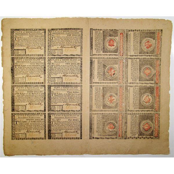 State of Rhode-Island and Providence Plantations, July 2, 1780 Uncut Sheet of 16 Colonial Notes.