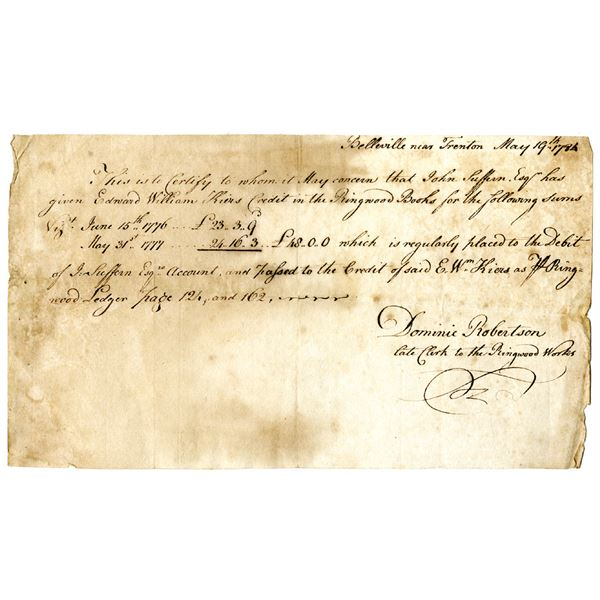 Ringwood Works, Historic New Jersey, 1784 Handwritten Credit Document